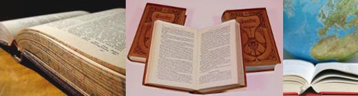 Drie beelden van oude boeken bij elkaar