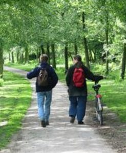 Twee vrienden in gesprek op een pad
